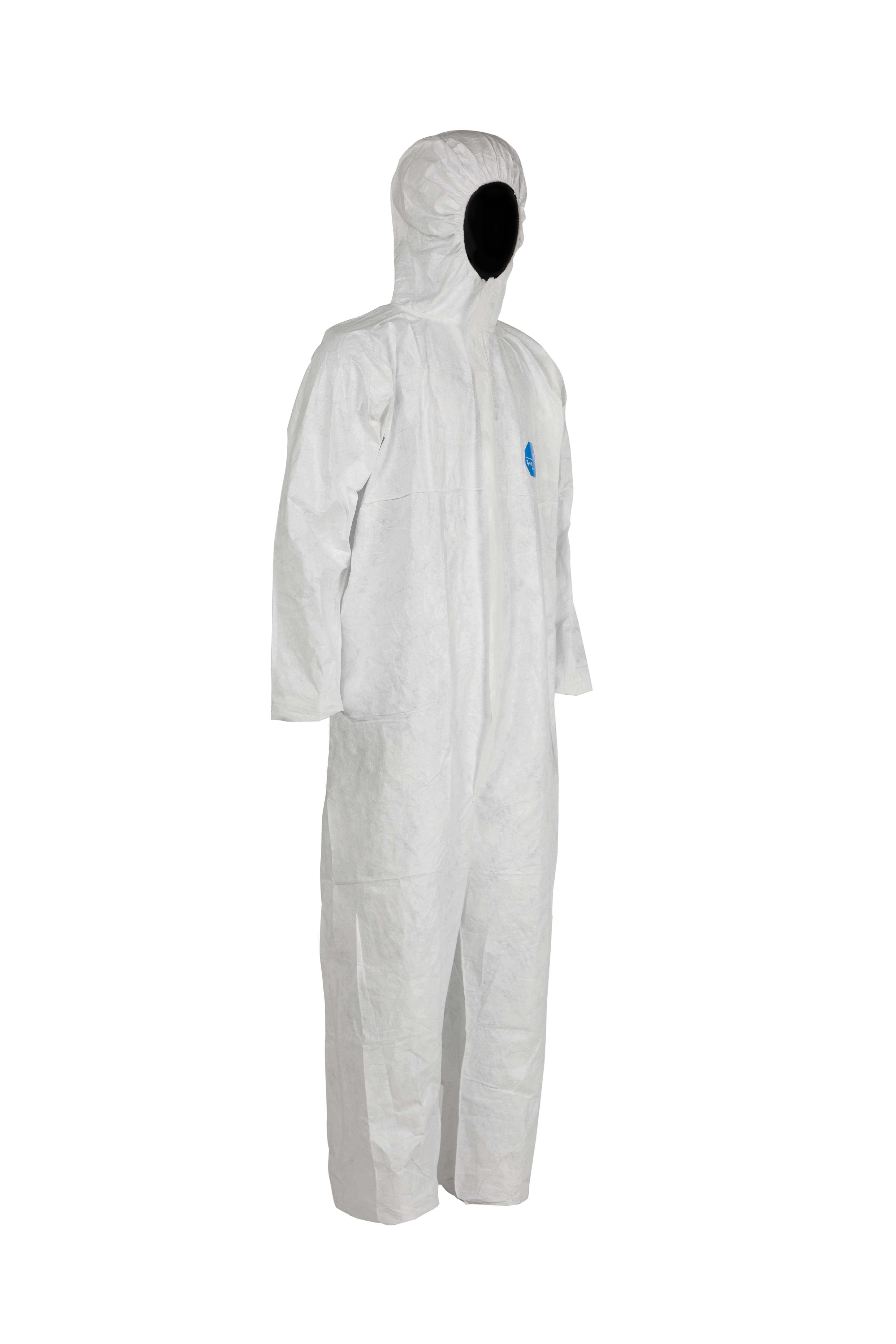 Robust yet Lightweight Type 5-B and 6-B White Size L DuPont Tyvek 500 Xpert Category III Chemical Protective Clothing with Hood 100 Pcs